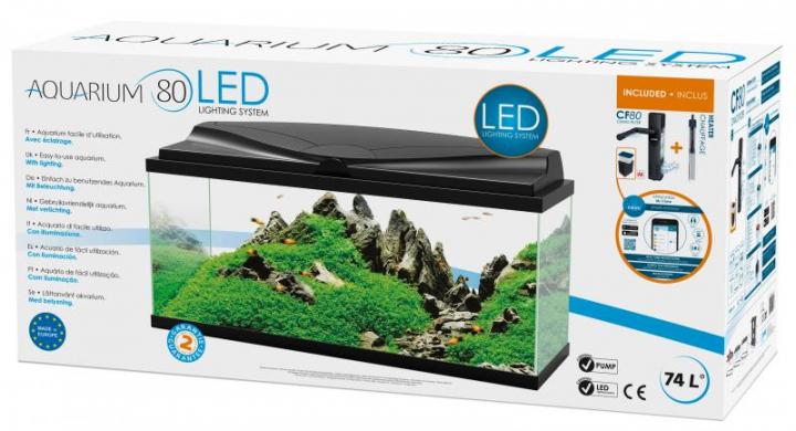 Aqua 80 Preto c/ filtro interior & iluminação Led