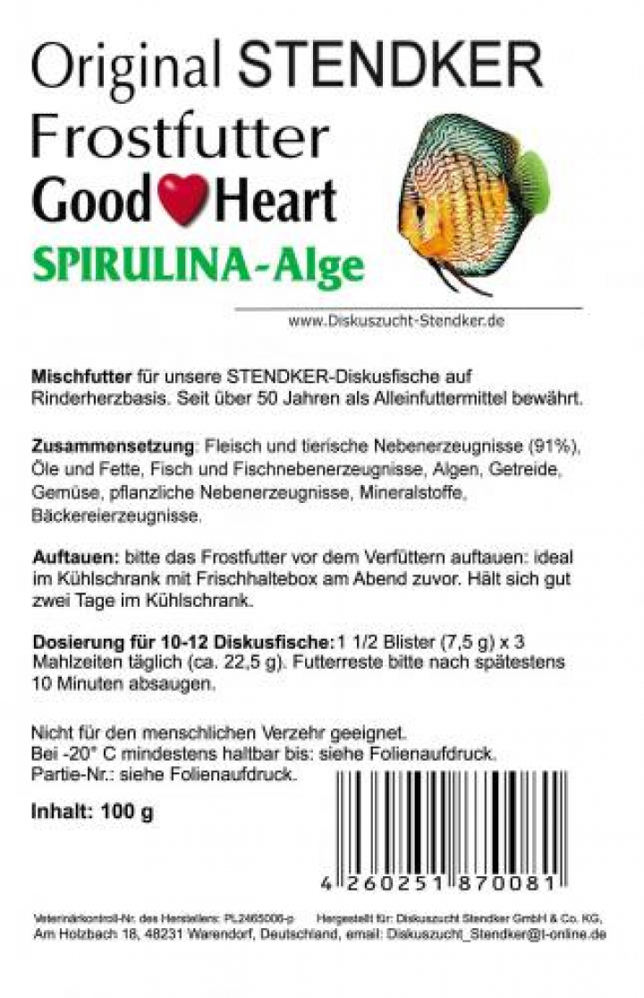 Alimento para Discus Stendker GoodHeart Spirulina 500 grs